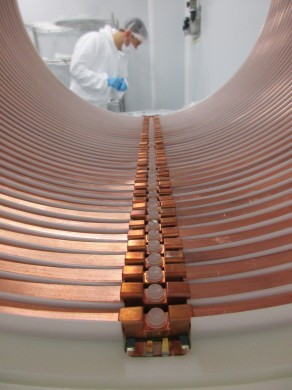 The field cage copper rings mounted on the high density polyethylene tube.