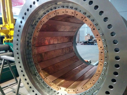 The NEW vessel with its internal copper shielding.